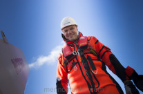 Offshore worker happy at work
