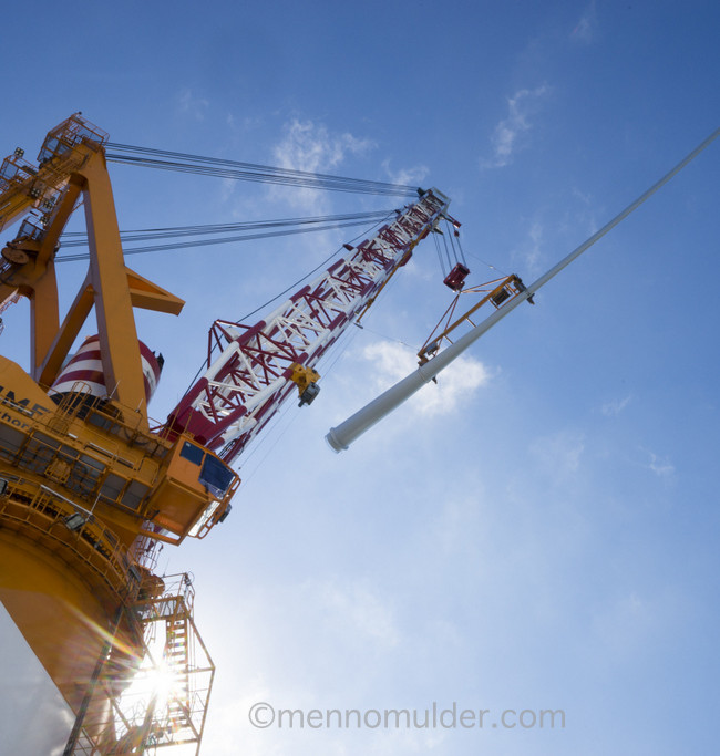 Offshore lifting of windturbine blade onboard Van Oord vessel Aeolus