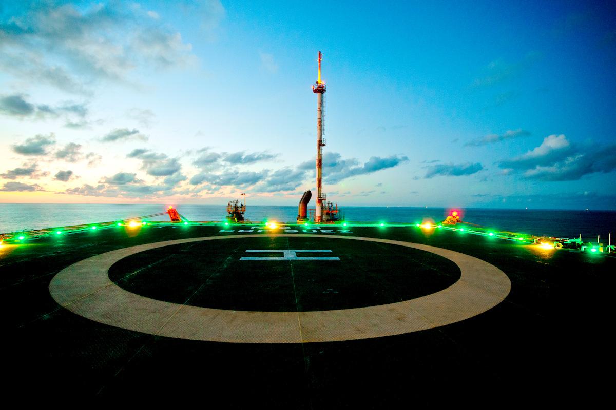 Offshore sunset heli deck