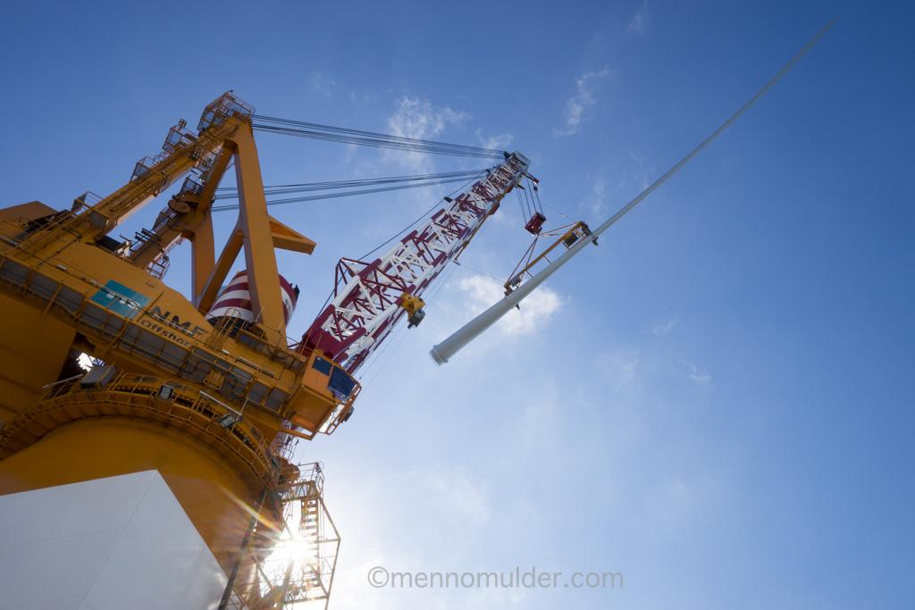 Offshore lifting of windturbine blade onboard Van Oord vessel Aeolus